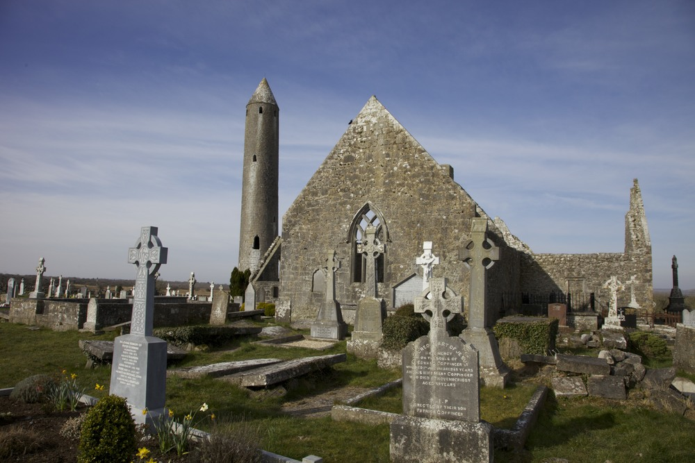 Old graveyard/church somewhere on the road from Dublin to the Cliffs of Moher.  (Ireland.)