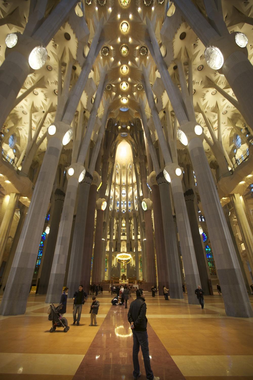 Interior of La Sagrada Familia by Gaudí.