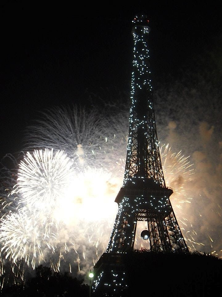 Bastille Day fireworks at the Eiffel Tower. (Picture courtesy of Simone.)