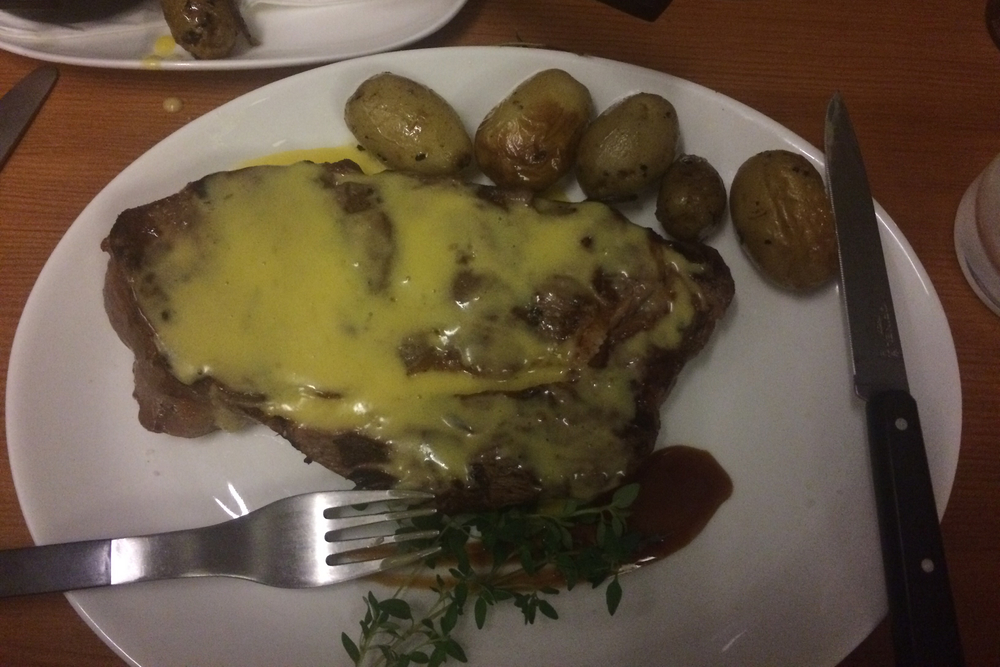 An even more proper steak, at Gourmandiet, a butcher shop that turns into a tiny restaurant some nights. (Copenhagen, Denmark.)