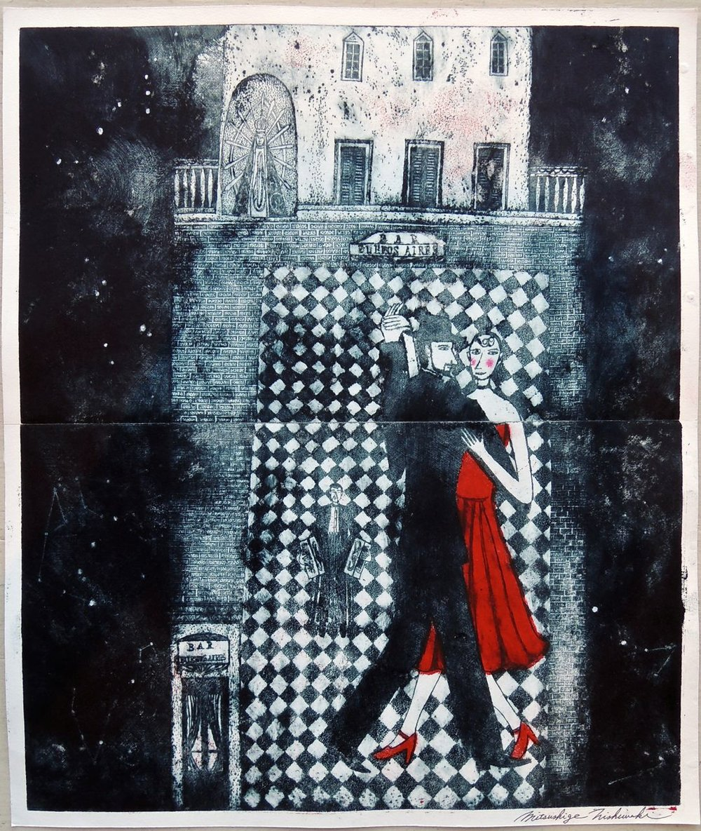 "Artist: Mitsushige Nishiwaki  Name: Bar Buenos Aires Tango  Size: 20.25""x17""  Price:  Inquire   Method: etching  Condition: signed print"