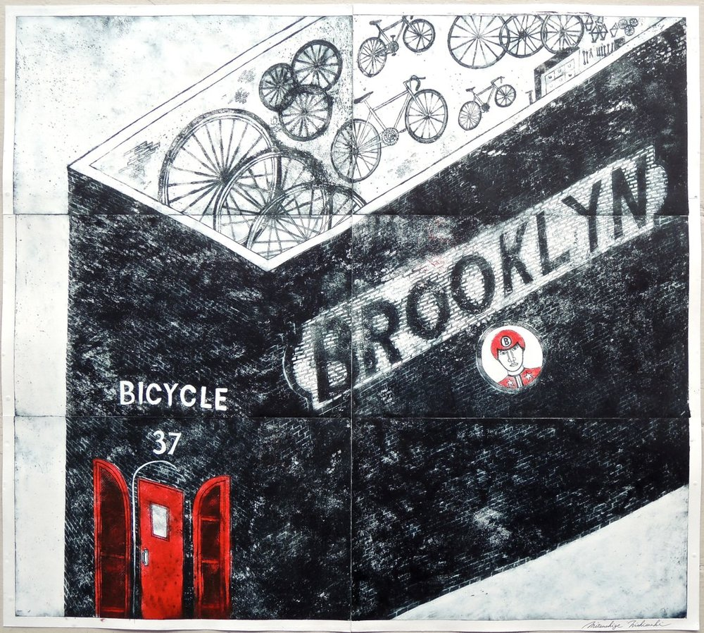 "Artist: Mitsushige Nishiwaki  Name: Brooklyn Bicycle 37  Size: 33.5""x30""  Price:  Inquire   Method: etching  Condition: signed print"