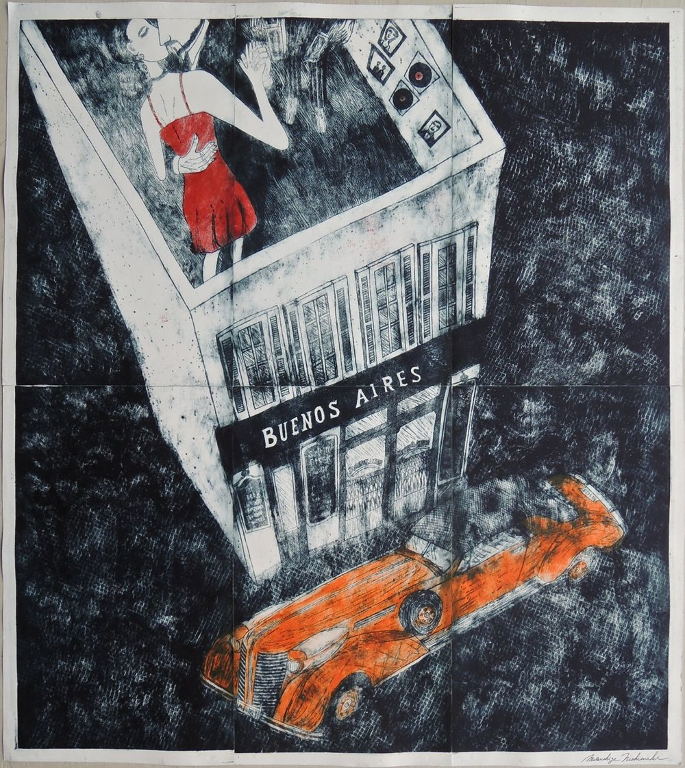 "Artist: Mitsushige Nishiwaki  Name: Buenos Aires Rooftop Tango  Size: 33.75""x30""  Price:  Inquire   Method: etching  Condition: signed print"