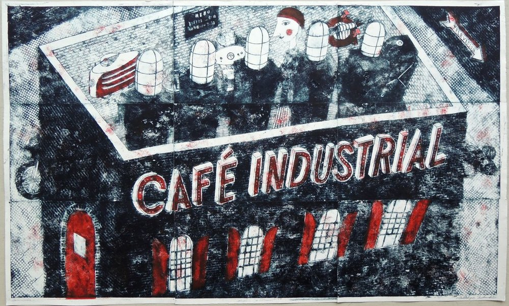 "Artist: Mitsushige Nishiwaki  Name: Cafe Industrial  Size: 50""x30""  Price:  Inquire   Method: etching  Condition: signed print"