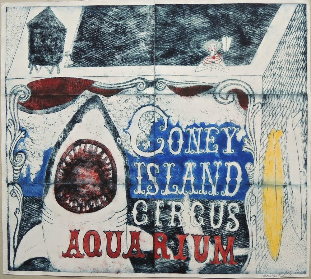 "Artist: Mitsushige Nishiwaki  Name: Coney Island Circus Aquarium  Size: 33.5""x30""  Price:  Inquire   Method: etching  Condition: signed print"