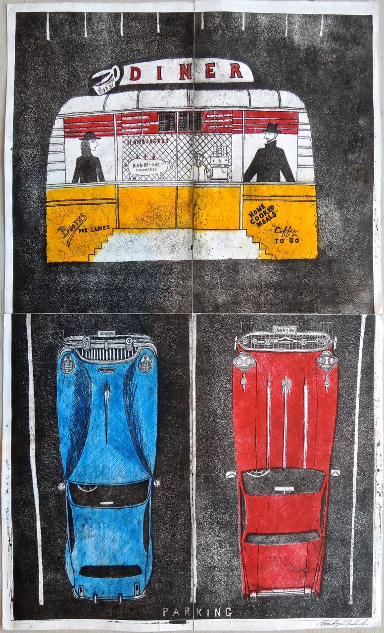 "Artist: Mitsushige Nishiwaki  Name: Diner Red Blue Yellow  Size: 34""x20.25""  Price:  Inquire   Method: etching  Condition: signed print"