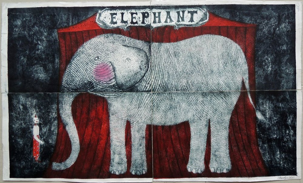 "Artist: Mitsushige Nishiwaki  Name: Elephant  Size: 34""x30""  Price:  Inquire   Method: etching  Condition: signed print"