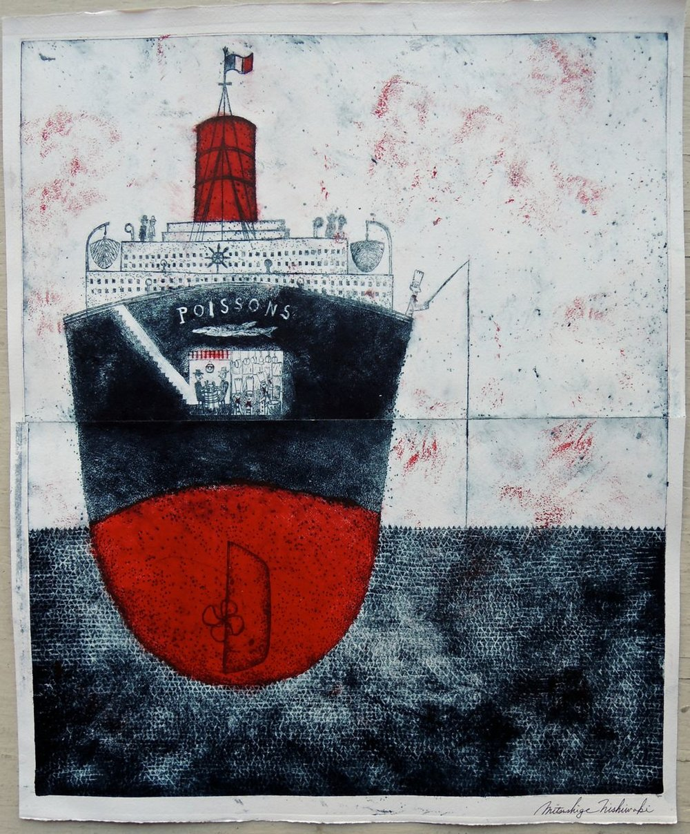 "Artist: Mitsushige Nishiwaki  Name: Fishing Steamer  Size: 20.5""x17.25""  Price:  Inquire   Method: etching  Condition: signed print"