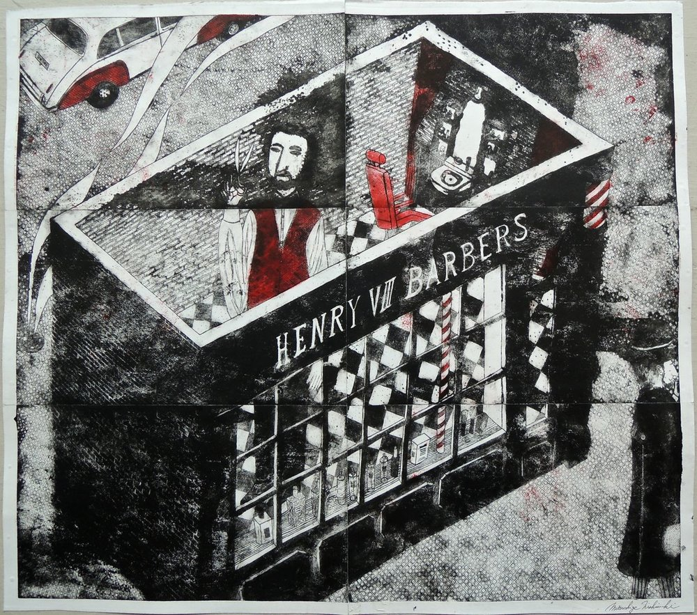 "Artist: Mitsushige Nishiwaki  Name: Henry VIII Barbers  Size: 34""x30""  Price:  Inquire   Method: etching  Condition: signed print"