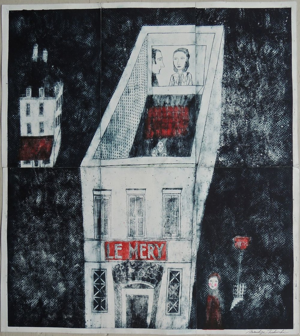 "Artist: Mitsushige Nishiwaki  Name: Le Mery  Size: 33.76""x30.25""  Price:  Inquire   Method: etching  Condition: signed print"