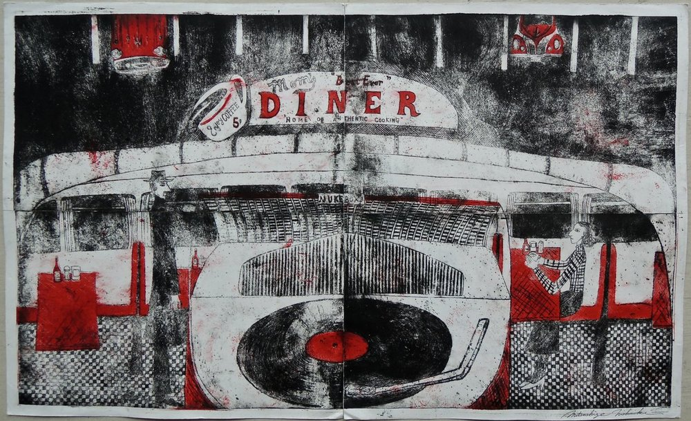"Artist: Mitsushige Nishiwaki  Name: Mom's Diner  Size: 34.5""x20.5""  Price:  Inquire   Method: etching  Condition: signed print"
