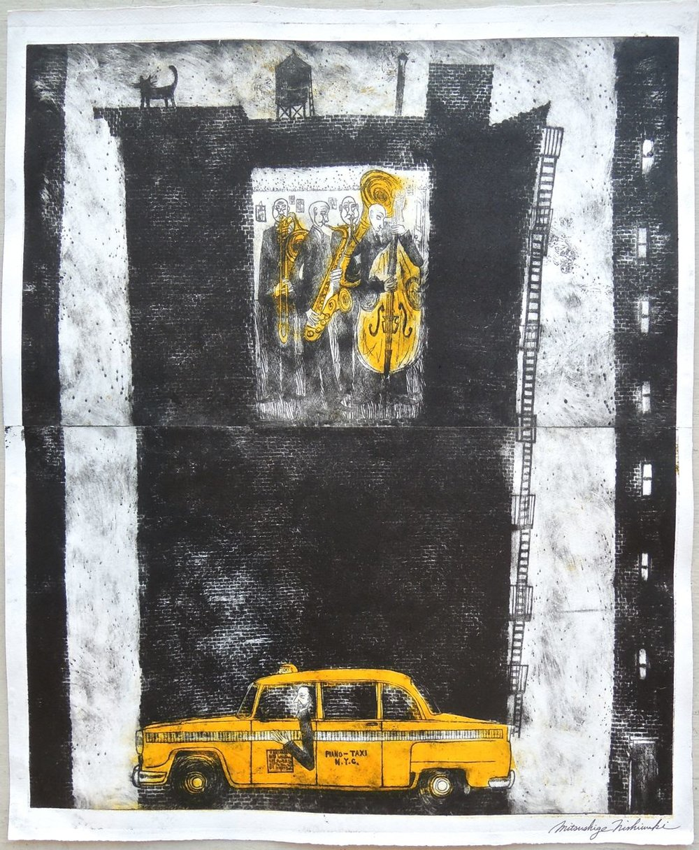 "Artist: Mitsushige Nishiwaki  Name: New York Taxi 2  Size: 21""x17.25""  Price:  Inquire   Method: etching  Condition: signed print"