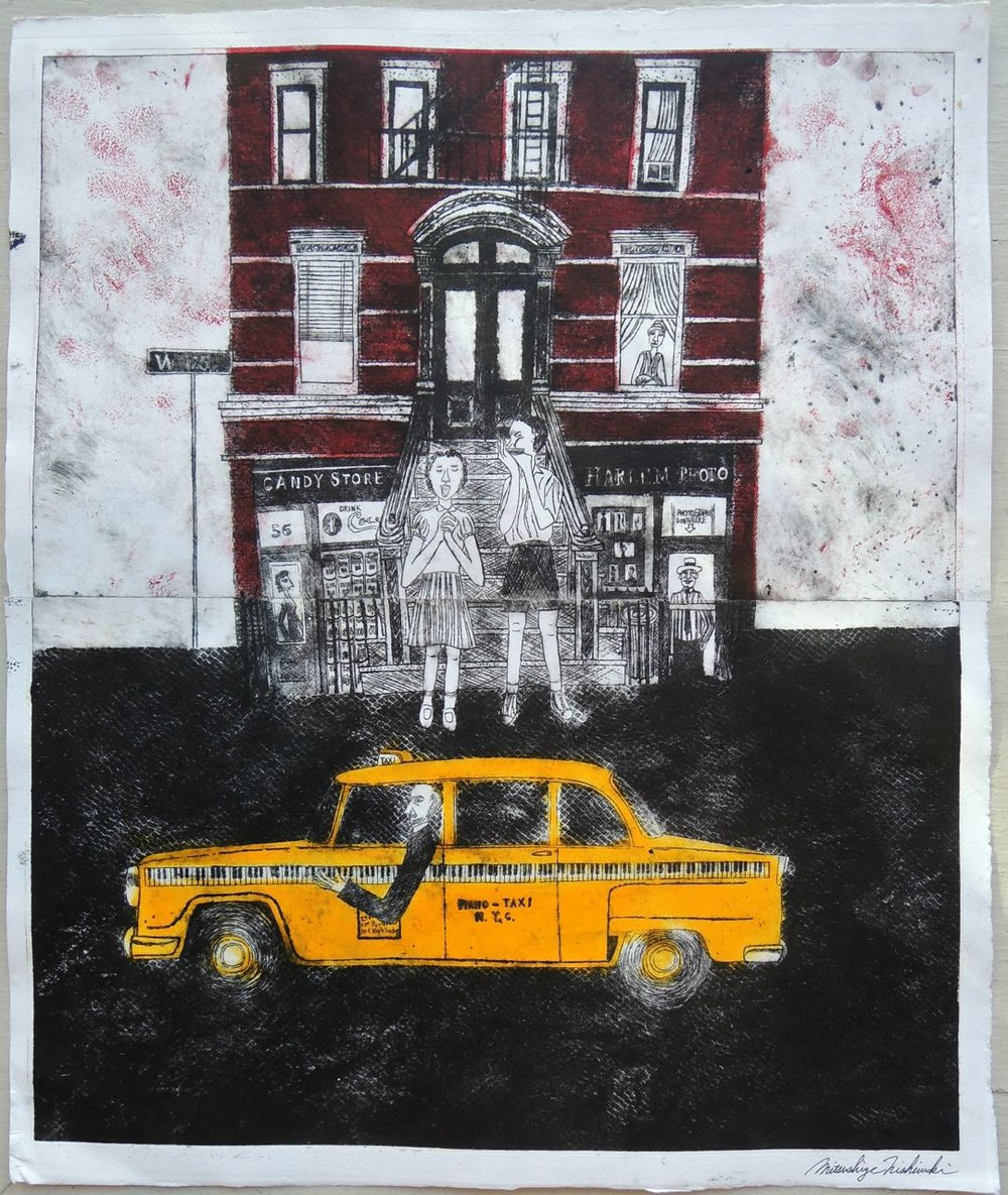 "Artist: Mitsushige Nishiwaki  Name: New York Taxi 4  Size: 21""x17.25""  Price:  Inquire   Method: etching  Condition: signed print"