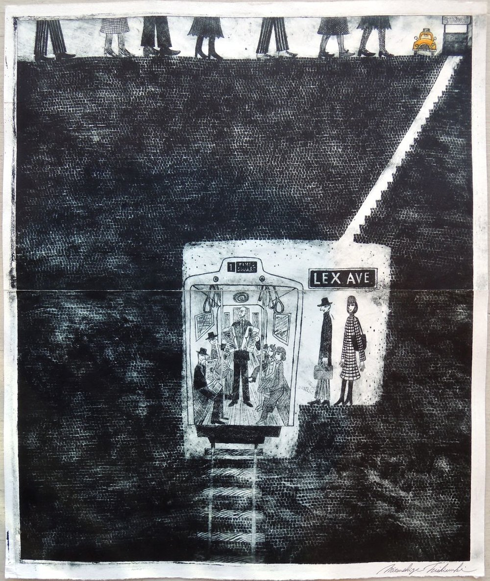 "Artist: Mitsushige Nishiwaki  Name: New York Taxi 5  Size: 20.5""x17.25""  Price:  Inquire   Method: etching  Condition: signed print"