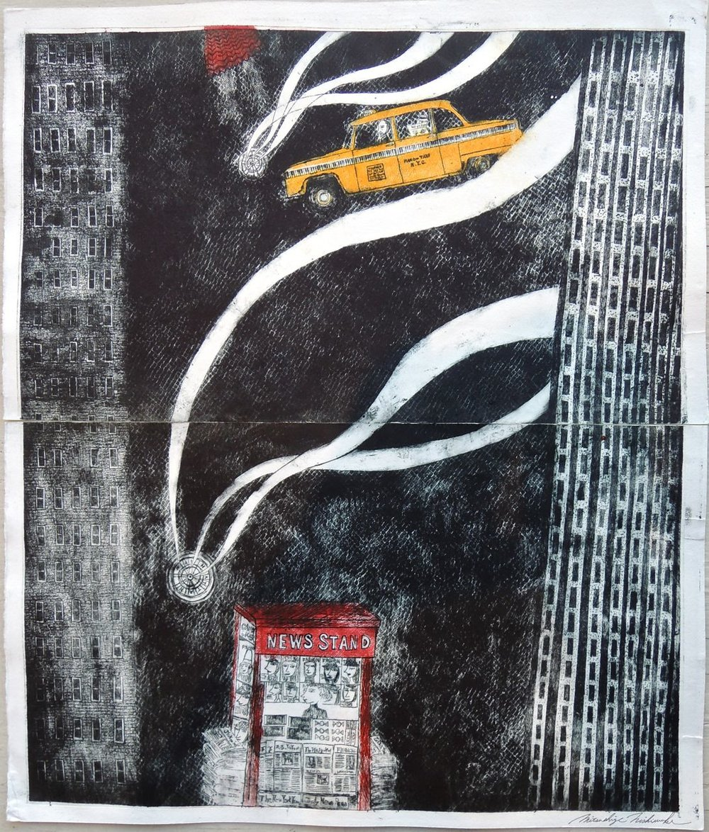 "Artist: Mitsushige Nishiwaki  Name: New York Taxi 6  Size: 20.5""x17.25""  Price:  Inquire   Method: etching  Condition: signed print"
