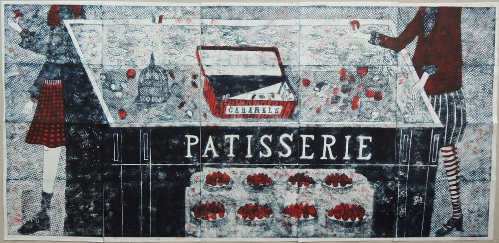 "Artist: Mitsushige Nishiwaki  Name: PATISSERIE Caramels  Size: 82""x40""  Price:  Inquire   Method: etching  Condition: signed print"