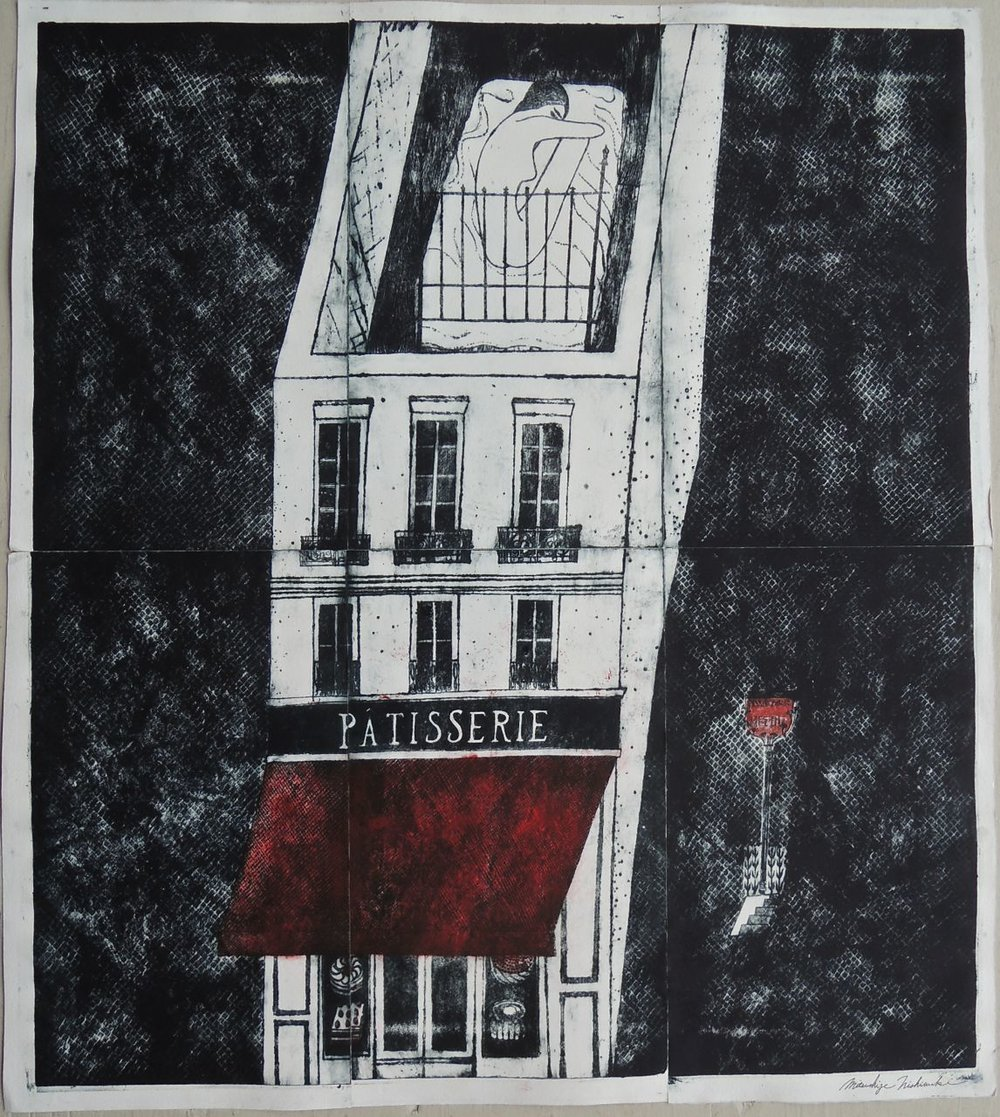 "Artist: Mitsushige Nishiwaki  Name: Patisserie Matisse  Size: 34""x30""  Price:  Inquire   Method: etching  Condition: signed print"