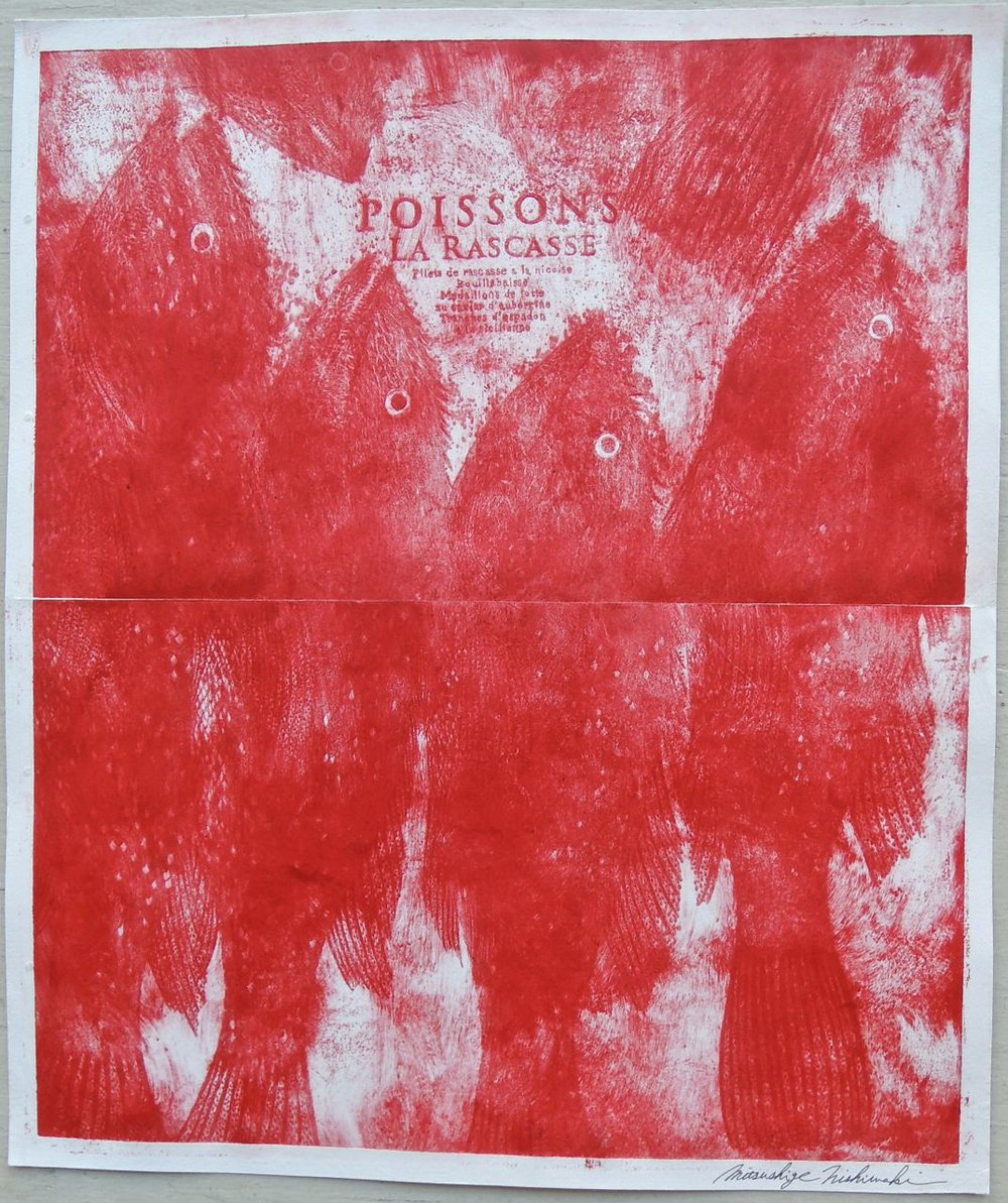 "Artist: Mitsushige Nishiwaki  Name: Poisson Rouge  Size: 20.5""x17""  Price:  Inquire   Method: etching  Condition: signed print"