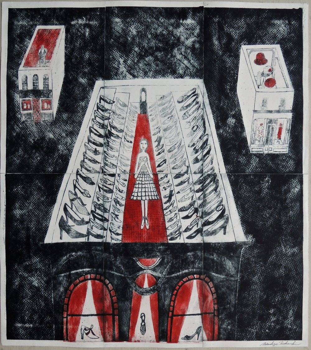 "Artist: Mitsushige Nishiwaki  Name: Rooftop Shoes  Size: 33.5""x30""  Price:  Inquire   Method: etching  Condition: signed print"