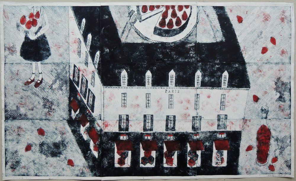 "Artist: Mitsushige Nishiwaki  Name: Strawberry Cheesecake  Size: 50""x30""  Price:  Inquire   Method: etching  Condition: signed print"
