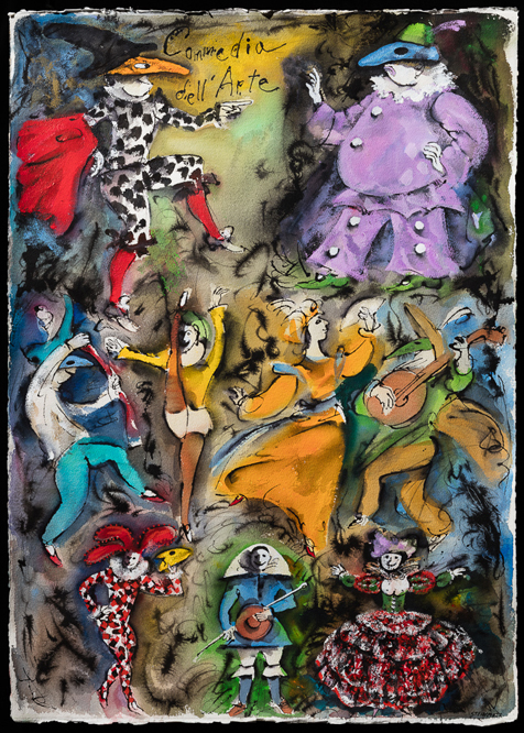 "Artist: Leon Steinmetz  Name: Commedia del'Arte - Carnival 1  Year: 2016  Size: 30"" wide x 41 1/2"" high  Method: work-on-paper  Condition: original"