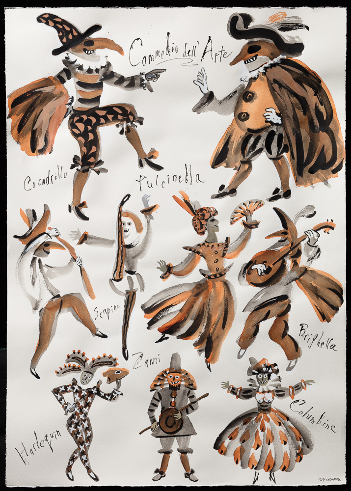 "Artist: Leon Steinmetz  Name: Commedia dell'Arte - Carnival 2  Year: 2016  Size: 30"" wide x 41 1/2"" high  Method: illustrated work-on-paper  Condition: original"