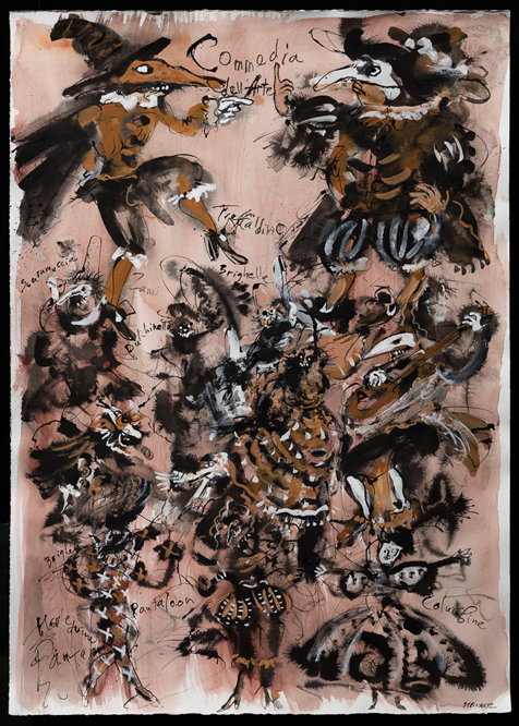 "Artist: Leon Steinmetz  Name: Commedia dell'Arte - Carnival 3  Year: 2016  Size: 30"" wide x 41 1/2"" high  Method: illustrated work-on-paper  Condition: original"