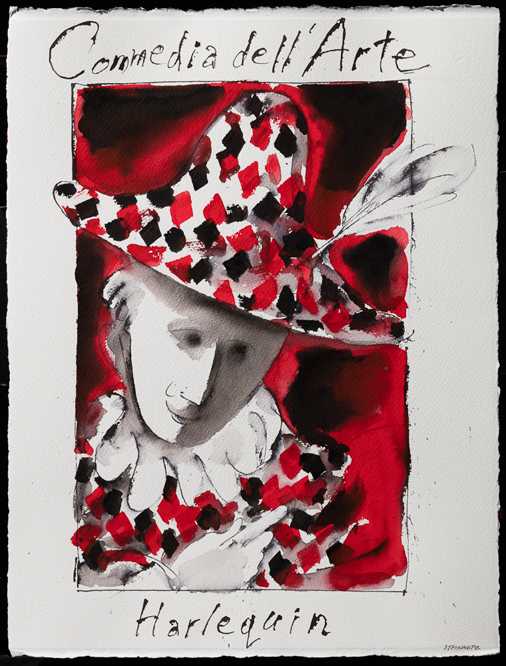 "Artist: Leon Steinmetz  Name: Commedia dell'Arte Harlequin Portrait  Year: 2016  Size: 22"" wide x 30"" high  Method: watercolor  Condition: original"