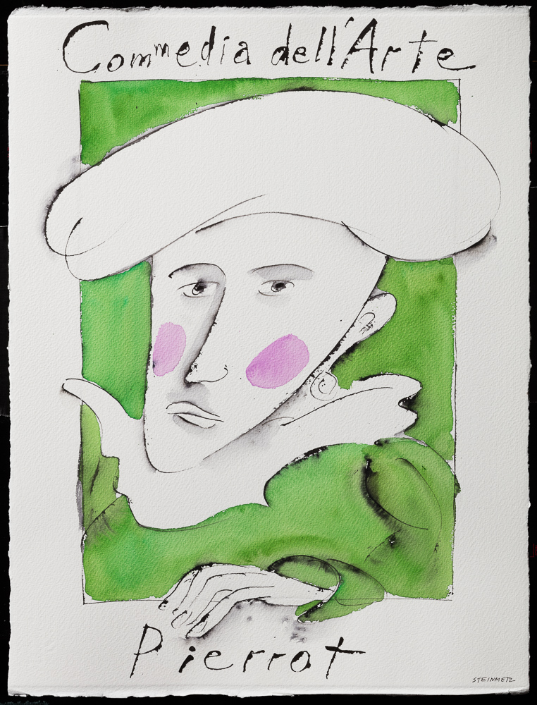 "Artist: Leon Steinmetz  Name: Commedia dellArte Pierrot Portrait  Year: 2016  Size: 22"" wide x 30"" high  Method: watercolor  Condition: original"