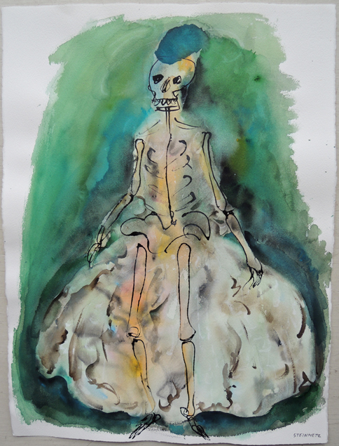 "Artist: Leon Steinmetz  Name: Commedia dell'Arte - Lady In Waiting Niece  Year: 2006  Size: 22 1/4"" wide x 30"" high  Method: watercolor  Condition: original"