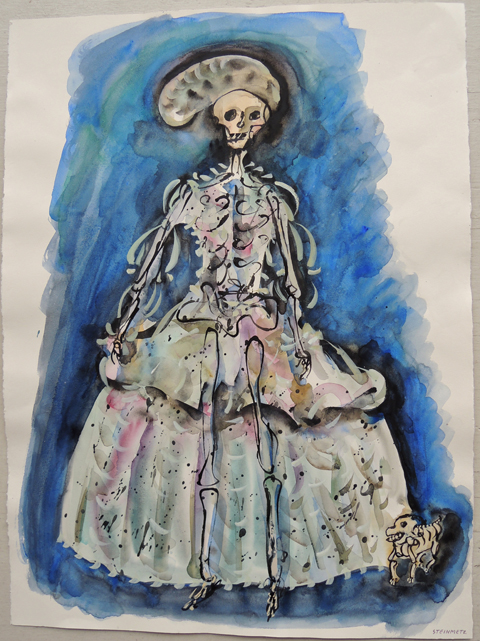 "Artist: Leon Steinmetz  Name: Commedia dell'Arte Lady In Waiting 1  Year: 2011  Size: 22 1/4"" wide x 30"" high  Method: watercolor  Condition: original"