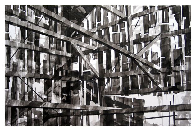 "Artist: Scott Tulay  Name: Shed  Year: 2013  Size: 30"" wide x 20"" high  Method: pen and ink  Condition: original"
