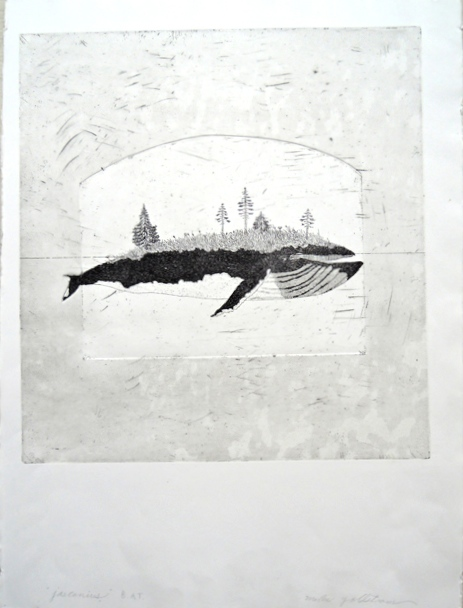 "Artist: Mollie Goldstrom  Title: Jasconius, from the Whale Island series  Method: Etching, aquatint  Size: 22"" x 30"""