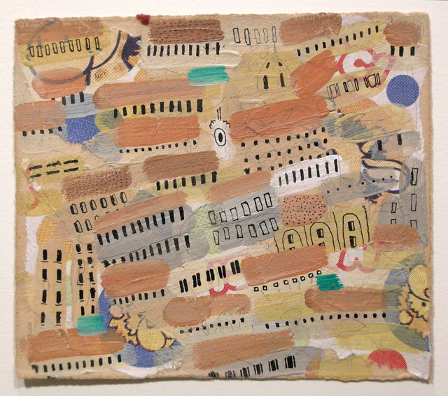 "Artist: Mollie Goldstrom  Title: Sorrento Rooftops  Method: Acrylic, pencil, India Ink, collage on tea-tinted rag  Size: 4 1/2"" x 5 1/2"""