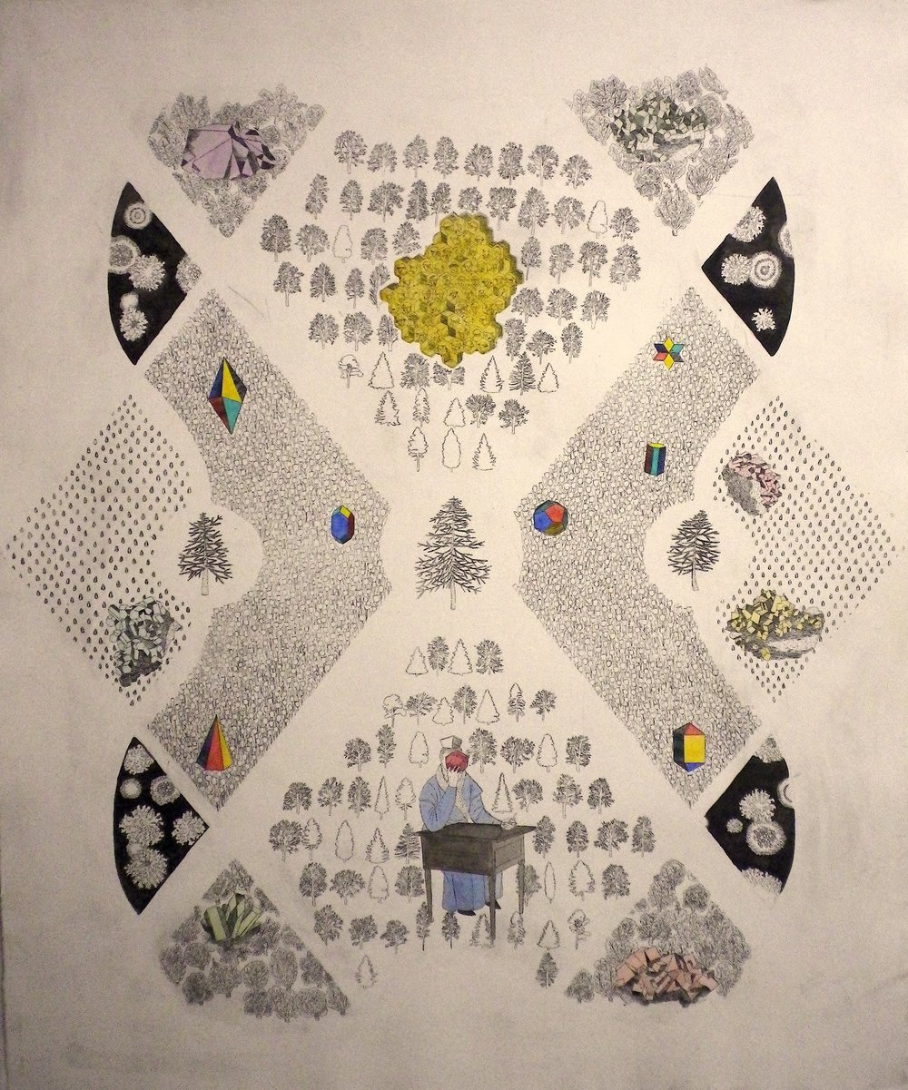 "Artist: Mollie Goldstrom  Title: Apis Geometra  Date: 2011  Condition: 1/1   Method: Intaglio  Size: 22"" x 30"""
