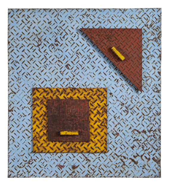 "Artist: John Sideli  Name: Blue Square, Red Triangle  Dimensions: 28"" x 23"" x 3"""