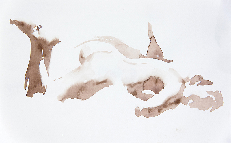 "Artist: Wendy Artin  Title: Model on Stomach  Date: 2016  Size: 7"" x 11""  Method: Watercolor  Price:  Inquire"