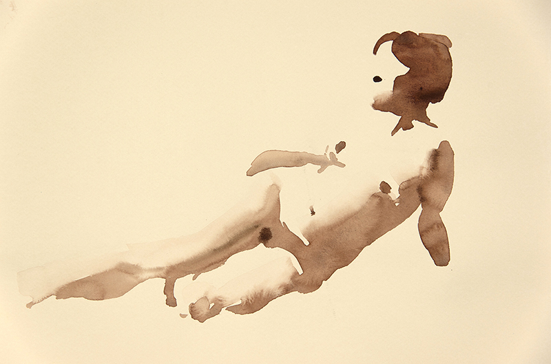 "Artist: Wendy Artin  Title: Model   Date: 2016  Size: 9"" x 13""  Method: Watercolor  Price:  Inquire"