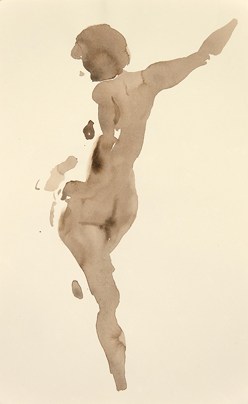 "Artist: Wendy Artin  Title: Standing Figure  Date: 2017  Size: 3 1/6"" x 5 1/6""  Method: Watercolor  Price:  Inquire"