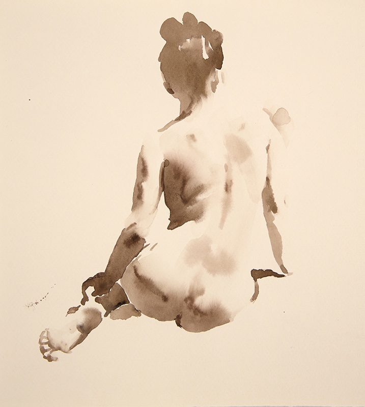 "Artist: Wendy Artin  Title: Taylor Back  Date: 2017  Size: 9"" x 10""  Method: Watercolor  Price:  Inquire"