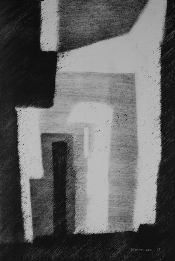 "Artist: John Hopkins  Title: L'Arrivee  Size: 15"" x 22""  Method: Monotype work on paper  Price:  Inquire"
