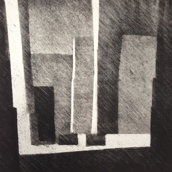 "Artist: John Hopkins  Title: La Lumière qui Cherche - Study  Size: 22"" x 22""  Method: Monotype work on paper  Price:  Inquire"
