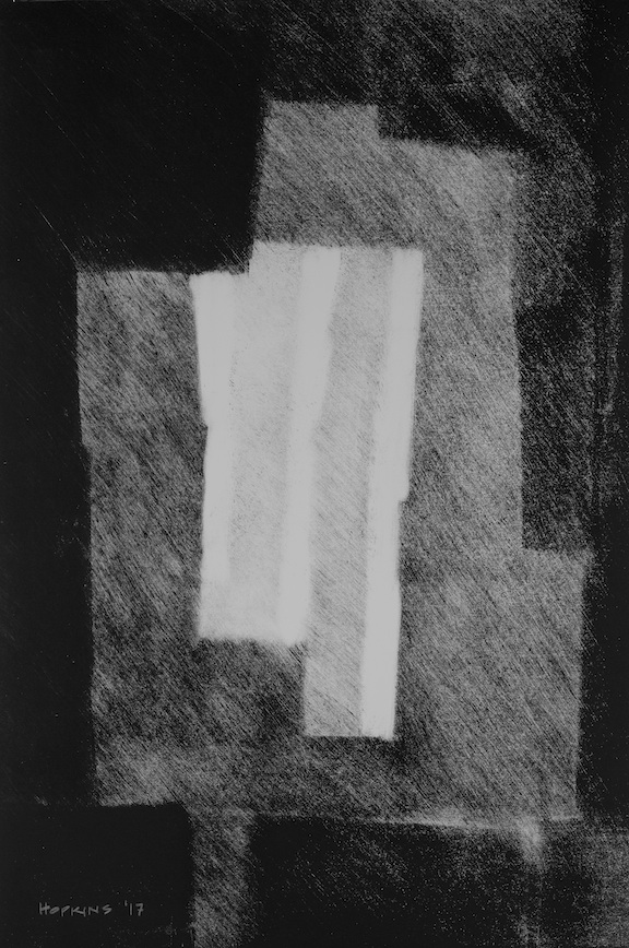 "Artist: John Hopkins  Title: De-La-Chance  Size: 15"" x 22""  Method: Monotype work on paper  Price:  Inquire"