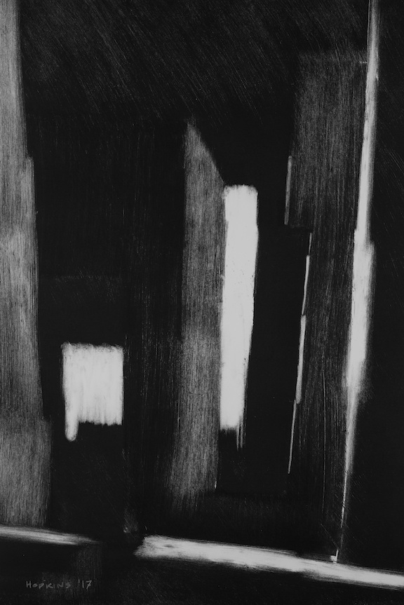 "Artist: John Hopkins  Title: Huis-Clos  Size: 15"" x 22""  Method: Monotype work on paper  Price:  Inquire"