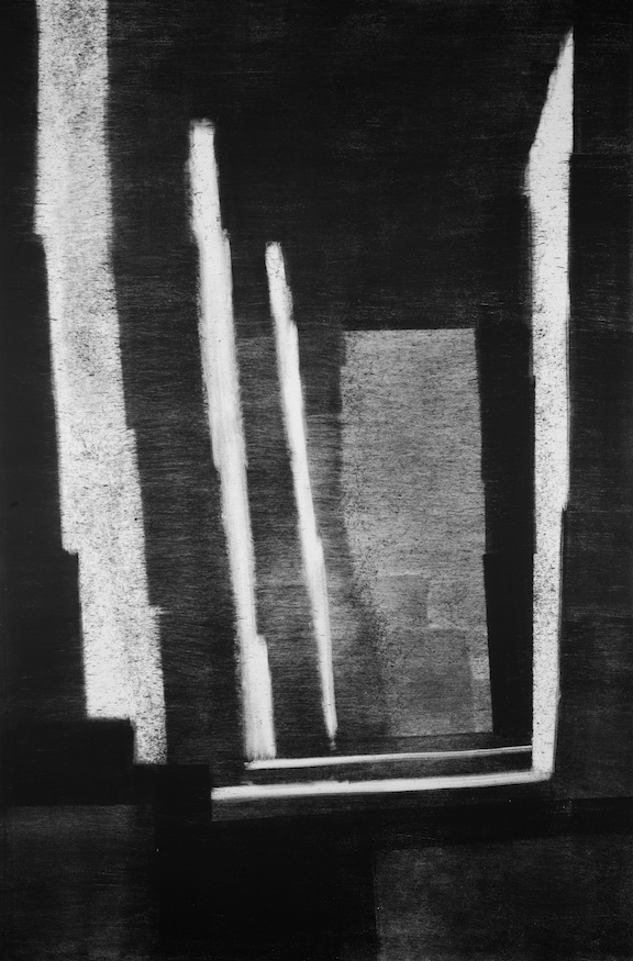 "Artist: John Hopkins  Title: Sanctuaire  Size: 28"" x 44""  Method: Monotype work on paper  Price:  Inquire"