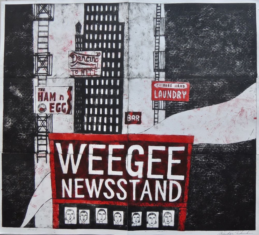 "Artist: Mitsushige Nishiwaki  Name: WeeGee News Stand  Size: 33.63""x30.12""  Price:  Inquire   Method: etching  Condition: signed print"
