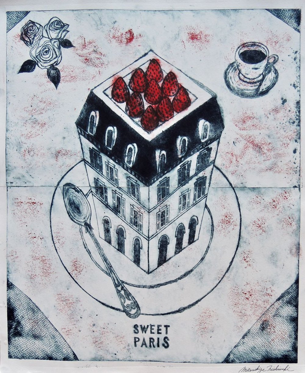 "Artist: Mitsushige Nishiwaki  Name: Sweet Paris Table Setting  Size: 17""x21""  Price:  Inquire   Method: etching  Condition: signed print"