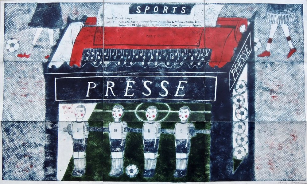 "Artist: Mitsushige Nishiwaki  Name: Sports Presse  Size: 50""x30.25""  Price:  Inquire   Method: etching  Condition: signed print"