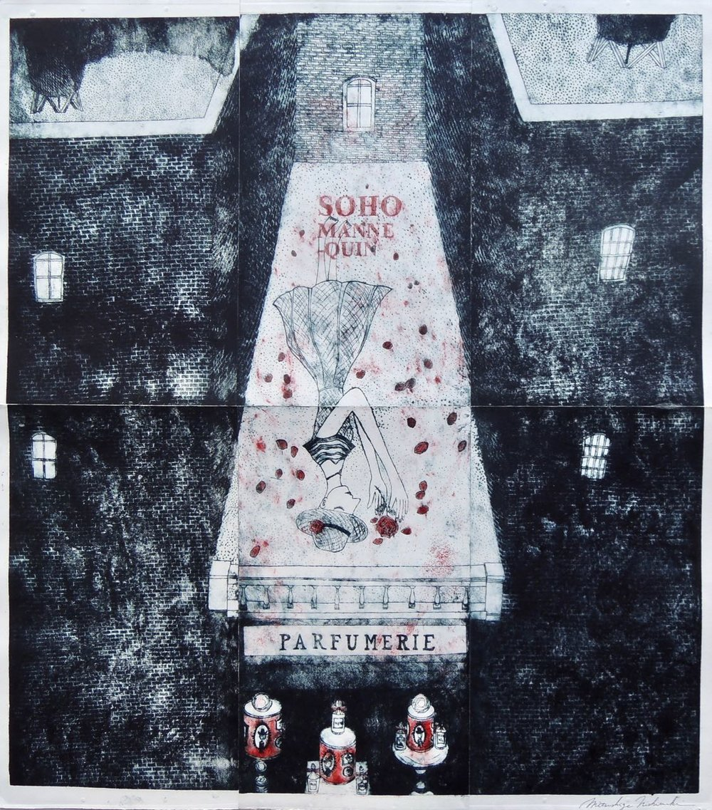 "Artist: Mitsushige Nishiwaki  Name: Soho Mannequin Parfumerie  Size: 30.33""x34.12""  Price:  Inquire   Method: etching  Condition: signed print"