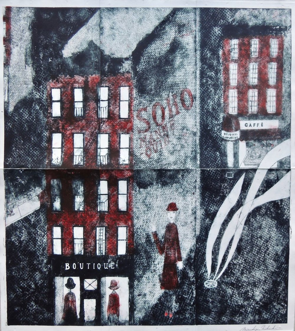 "Artist: Mitsushige Nishiwaki  Name: Soho Mannequin Boutique  Size: 30.33""x34.12""  Price:  Inquire   Method: etching  Condition: signed print"